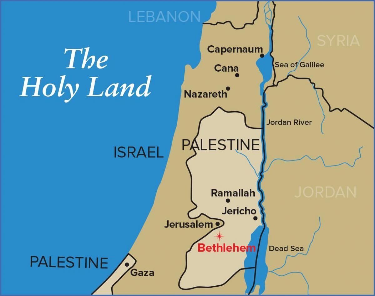 Betlehem Jerusalem Kort Kort Over Betlehem Og Jerusalem Israel